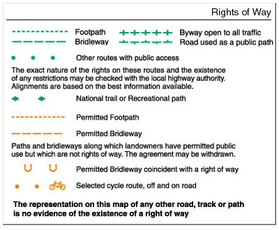 Fig. 3 OS Map Rights of Way Legend